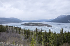 Mountain View at the Border of Yukon and Alaska Stock Images