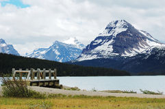 Mountain view in bow lake Royalty Free Stock Image