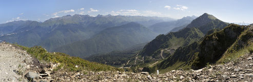 Mountain view Caucasus range. Royalty Free Stock Photography
