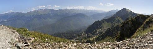 Mountain view Caucasus range. Summer panorama of Krasnaya Polyana Royalty Free Stock Photography