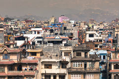 Mountain and view of city Kathmandu in Nepal Royalty Free Stock Images