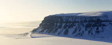 Mountain view. View on the cliffs from the Tempelfjorden, Spitsbergen Stock Image