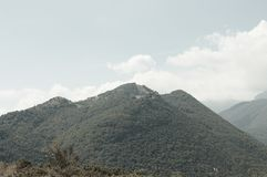Mountain view in a cloudy day - Panoramic landscape stock image
