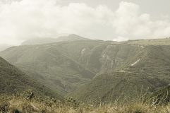 Mountain view in a cloudy day - Panoramic landscape royalty free stock image