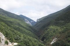 Mountain view in a cloudy day - Panoramic landscape royalty free stock photo