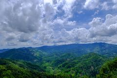 Mountain view with cloudy sky in noon time. Thailand Chiang Rai stock photography