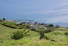 MOUNTAIN VIEW OF COATAL TOWN. View of costal town from high on a hill stock image