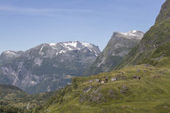 Mountain view with cottages Royalty Free Stock Photo