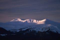 Mountain View d'hiver de Chornogora Images libres de droits