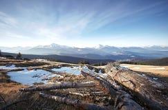 Mountain View d'hiver de Chornogora Photos stock