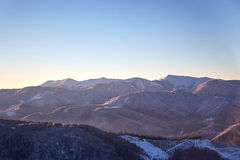 Mountain View d'hiver de Gorgany Photo stock