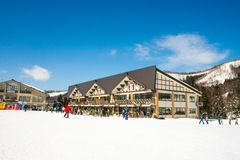 Mountain View da paisagem e de Nozawa Onsen no inverno, Nagano, Japão fotografia de stock