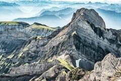Mountain View dal supporto Saentis, Svizzera, alpi svizzere Fotografia Stock Libera da Diritti