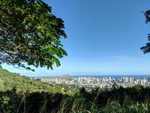 Mountain View de Diamondhead, de Honolulu, y del Océano Pacífico imagen de archivo libre de regalías