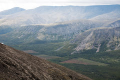 Mountain view with deforestation glades. Top view of Russian Khibini Mountains with deforestation glades Stock Photos