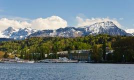 Mountain View dell'Erbaspagna del lago. La Svizzera. Fotografia Stock