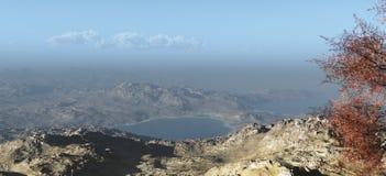 Mountain View of a Desert Shoreline Stock Photo