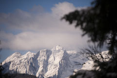 Mountain View di Julian Alps nell'inverno, Mt Stenar e Mt Kriz Fotografie Stock
