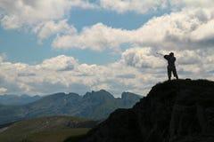 Mountain View e un turista Fotografia Stock