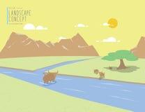Mountain View et animal de paysage Sur un vecteur plat de temps clair illustration libre de droits