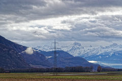 Mountain view in Evian-les-Bains in France in the New year in wi Stock Images