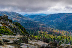 Buena Vista Kings Canyon National Park,. Mountain view of a fall valley as the leaves begin to change. The rugged beauty of Buena Vista peak stands in contrast Royalty Free Stock Photos
