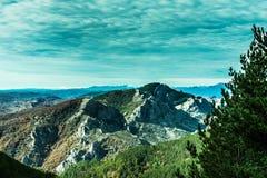 Mountain View fantastico dalla foresta fotografia stock