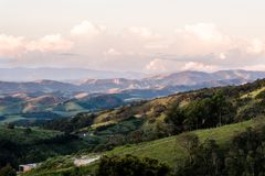 Mountain view from farm in Cunha, Sao Paulo. Mountain range in t. He background with green hills Stock Image