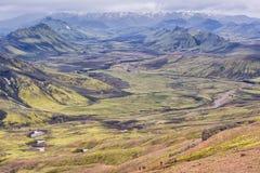 Mountain View Fjallabak naturreserv, Island Arkivfoton