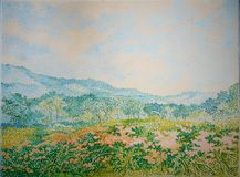 Mountain view flower garden field oil painting texture close up. stock images