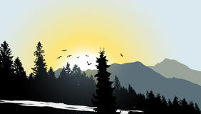 Mountain View with flying birds. During sunrise Vector Illustration
