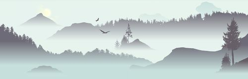 Mountain View with flying birds Royalty Free Stock Images