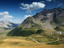 Mountain view from French Alps, Ecrins, France. Mountain road in Ecrins, France Stock Images