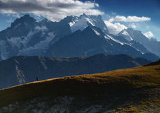Mountain view from French Alps, Ecrins, France. Royalty Free Stock Image