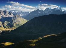 Mountain view from French Alps, Ecrins, France. Mountain road in Ecrins, France Royalty Free Stock Photos