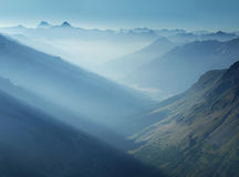 Mountain view from French Alps, Ecrins, France. Evening view on Ecrins range in France Alps Stock Photo
