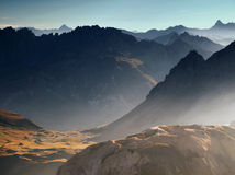 Mountain view from French Alps, Ecrins, France. Evening view on Ecrins range in France Alps Royalty Free Stock Images