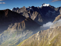 Mountain view from French Alps, Ecrins, France. Morning view on Ecrins range in France Alps Stock Photos