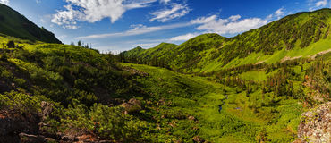 Mountain view with green forest and blue sky. A panorama of Mamay valley at Khamar-Daban mountains near Baikal lake stock photos