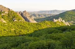 Mountain view with green juniper at sunset near Novyi Svit village, Crimea, Ukraine. Beautiful mountains with green juniper seen at sunset near New World village Royalty Free Stock Photos