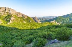 Mountain view with green juniper at sunset near Novyi Svit village, Crimea, Ukraine. Beautiful mountains with green juniper seen at sunset near New World village Stock Photography