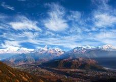 Mountain View Himalaia de Sarangkot, Pokhara Imagem de Stock Royalty Free