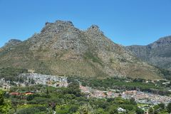 Mountain view and houses on the hillside in Hout Bay Royalty Free Stock Images