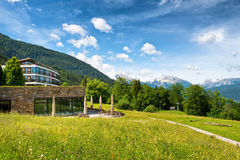 Mountain View from Kempinski Berchtesgaden Hotel. View of Mountains on Sunny Day from Grounds of Kempinski Berchtesgaden Hotel, a 5 Star Luxury Hotel High in Stock Photo