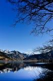 Mountain view with lake reflection Royalty Free Stock Photos