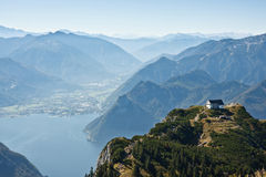 Mountain view with a lake Traunsee in Austria Royalty Free Stock Photography