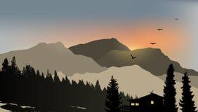 Mountain View med ett ensamt hus Arkivfoto