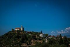 Mountain View med hus Arkivbild