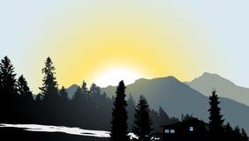 Mountain View met een eenzaam huis royalty-vrije illustratie