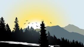 Mountain View met vliegende vogels Royalty-vrije Stock Foto's